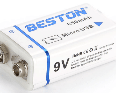 BESTON High quality USB 9v 650mAh Li ion Lithium Rechargeable Battery